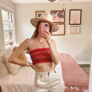 Forever 21 Red Smocked Ruffle Tube Top Bandeau
